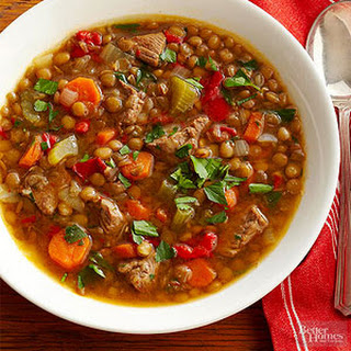 Lentil Soup with Beef and Red Pepper Recipe