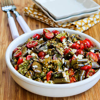 Grilled Eggplant, Grape Tomato, and Feta Salad with Amazing Basil, Parsley, and Caper Sauce.