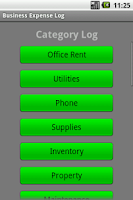 Screenshot of Business Expense Log