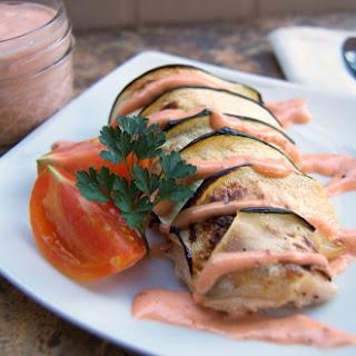 Zucchini Wrapped Mahi Mahi w/ Tomato Aioli.
