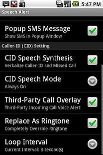 SMS / CallerID Speech Alert - screenshot thumbnail