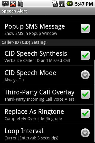 SMS / CallerID Speech Alert - screenshot