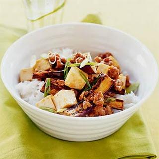 Spicy Eggplant, Pork, and Tofu Stir-fry.
