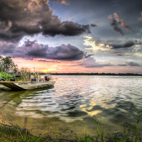 Another Banana Lake by Chris Thomas - Landscapes Waterscapes ( water, sunset, florida, lake, boat, lakeland )