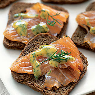 Dilled Gravlax with Mustard Sauce.
