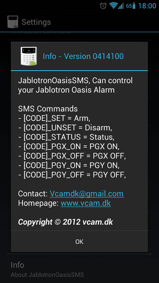 Jablotron Oasis SMS - screenshot