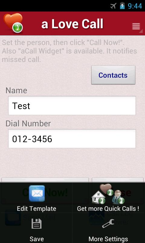 a Love Call - Simple Contacts- screenshot