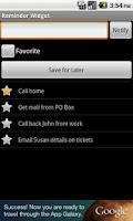 Screenshot of Reminder Widget