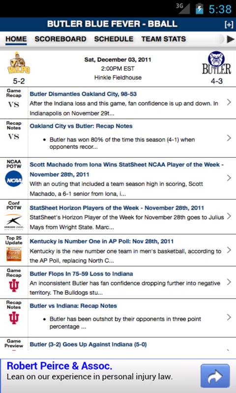 Butler Football & Basketball - screenshot