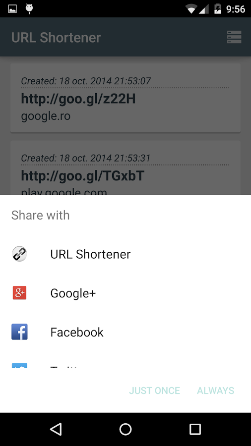 URL Shortener (goo.gl) - screenshot