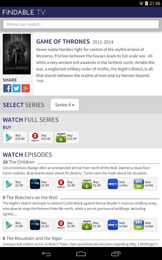 Findable Tv Tv Amp Movie Search Android Apps On Google Play