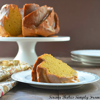 Pumpkin Spice Bundt Cake With Caramel Icing.