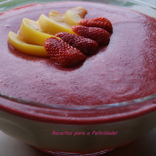 Peach Mousse with Strawberry Gelee.
