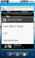 Screenshot of Missed Call & SMS Popup