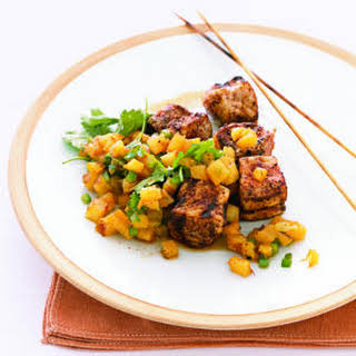 Chili-Rubbed Pork Kebabs with Pineapple Salsa.