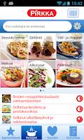 Screenshot of Pirkka reseptit ja ostoslista
