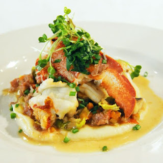 Lobster and Shiitake Ragu with Celery Root Puree.