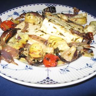 Broiled Lemon-Pesto Tofu with Artichokes
