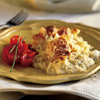 Muenster Cheese Soufflé with Red Bell Pepper and Tomato Salad