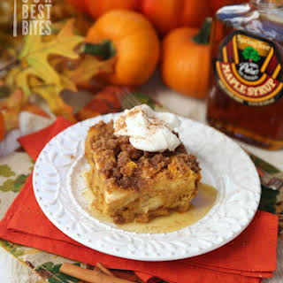 Overnight Baked Pumpkin Spice French Toast.