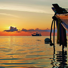 boats @ sunset by Dan Baciu - Transportation Boats ( boats, thailand, beach, boat, fishing boat, island, honeymoon, holiday, vacation, koh phangan, sunset, sunrise, koh tao, , Beach, blue, water, ocean. , colorful, mood factory, vibrant, happiness, January, moods, emotions, inspiration )