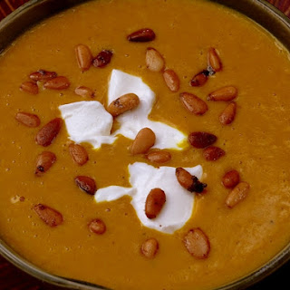 Curried Pumpkin Soup with Spicy Pine Nuts