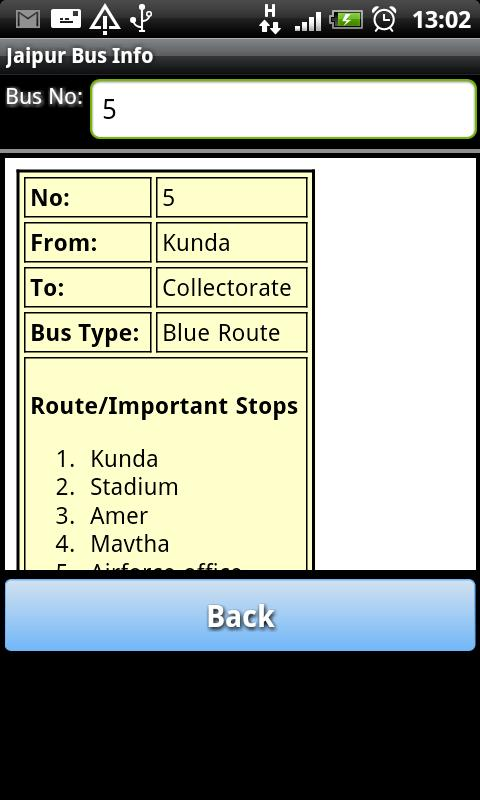 Jaipur Bus Info - screenshot