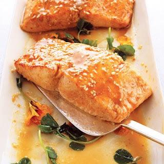 Wasabi Salmon with Miso-Sesame Sauce.