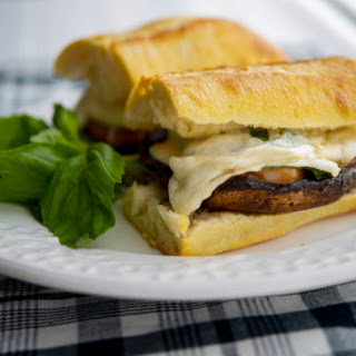Portobello Sandwiches with Fresh Mozzarella, Tomato & Basil.