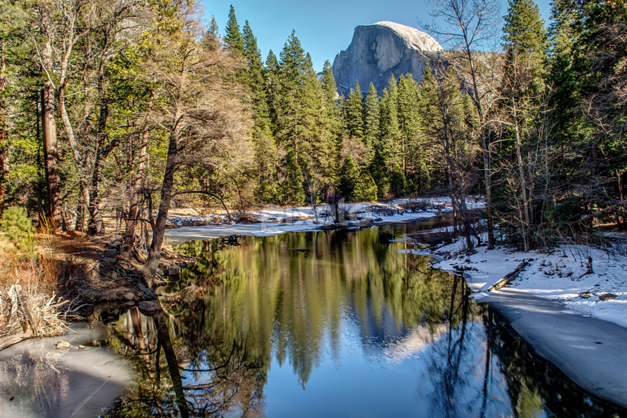 Yosemite Reflections by James Fulton - Landscapes Mountains & Hills ( reflection, mountains, half dome, yosemite, river )