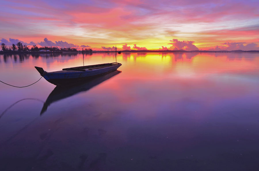 Alone by Adiyanto Rama - Transportation Boats ( clouds, beach, boat )
