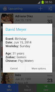Kalendář narozeniny (Upcoming) - náhled