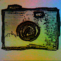 Camera paper drawing effect logo