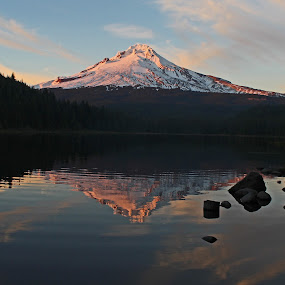 Mt Hood by Maureen Rueffer - Landscapes Mountains & Hills ( clouds, reflection, mountain, sunset, lake,  )