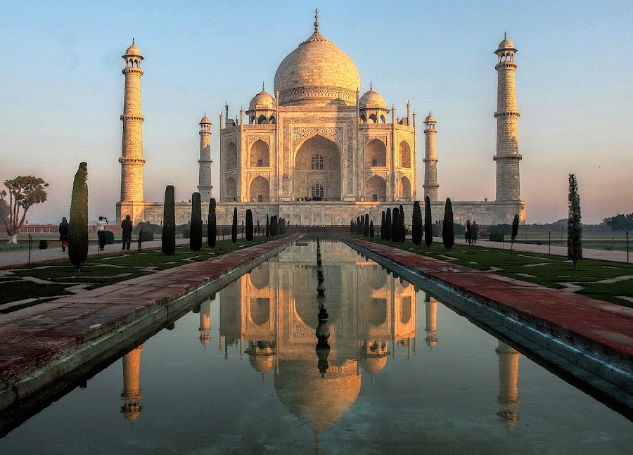 Taj Mahal - Early Morning by Raymond Pauly - Buildings & Architecture Public & Historical ( magnificent, reflection, mausoleum, beautiful, taj mahal, agra, india, monument, grave, historical, morning, heritage )