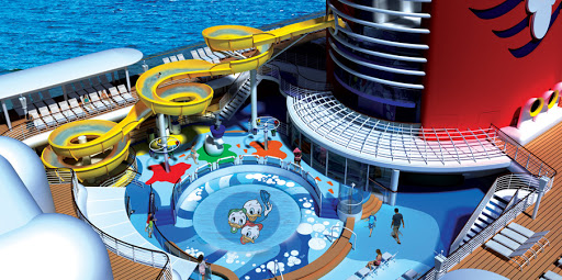 Disney-Magic-AquaLab - AquaLab, featuring Huey, Dewey and Louie, is one of three pool areas on  Disney Magic. Located on deck 9, the 1,800-square-foot aqua playground features a freshwater pool, waterslides, pop jets, geysers and bubblers.