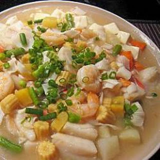 Stir Fried Seafood Medley With Tofu.