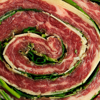 Grilled Pinwheel Steaks and Roasted Broccoli