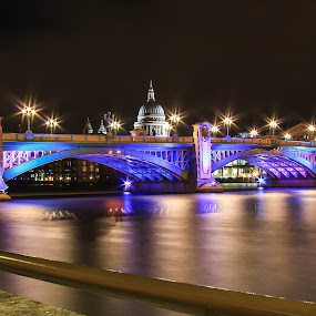 Colourful Bridge by Nachau Kirwan - Buildings & Architecture Bridges & Suspended Structures ( water, night photography, thames, cold, white, river, , Lighting, moods, mood lighting, bridge )