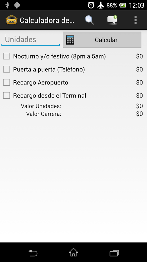 Calculadora de Tarifas - screenshot