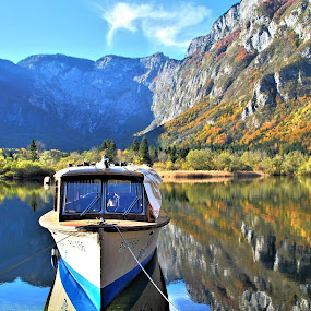 Bohinj lake by Tina K - Landscapes Waterscapes ( water, mountains, lake, boat, bohinj )