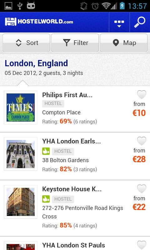 Hostelworld.com - Hostels - screenshot