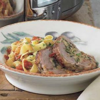 Pork Braciole with Tagliatelle and Tomato Sauce.