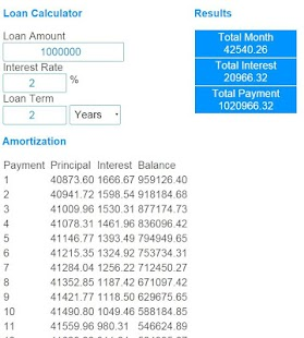 Loan payment calculator- screenshot thumbnail