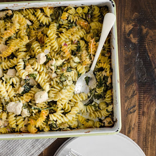 Chicken Pasta Bake with Spinach & Parmesan.