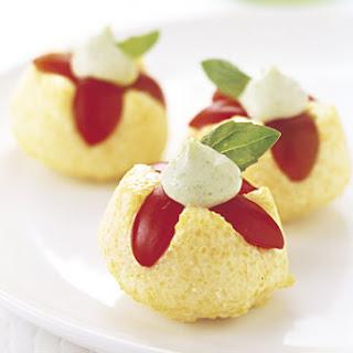 Cherry Tomato Polenta Tartlets with Basil Mayonnaise