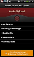 Screenshot of Bitdefender Carrier IQ Finder