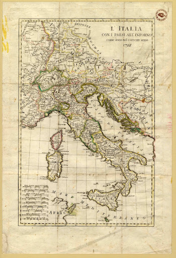 Italy with the countries around in year 1798