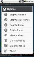 Screenshot of Baseball Pitch Calculator