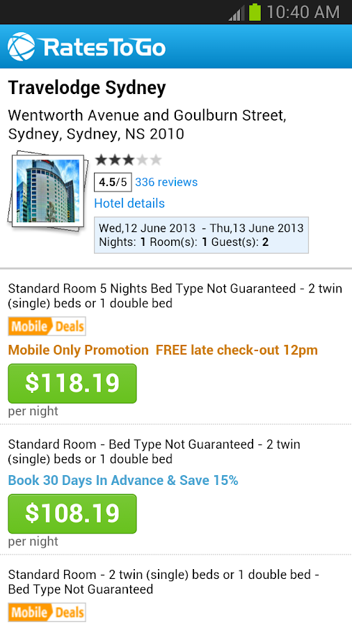 RatesToGo: Last Minute Hotels - screenshot